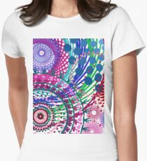 Northern Lights Fireworks mandala Fitted T-Shirt