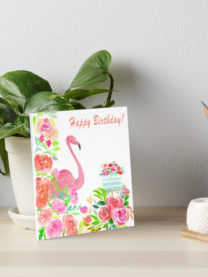 Fabulous Watercolor Flamingo Birthday Cake Flowers Art Board Print By Personalised Birthday Cards Veneteletsinfo