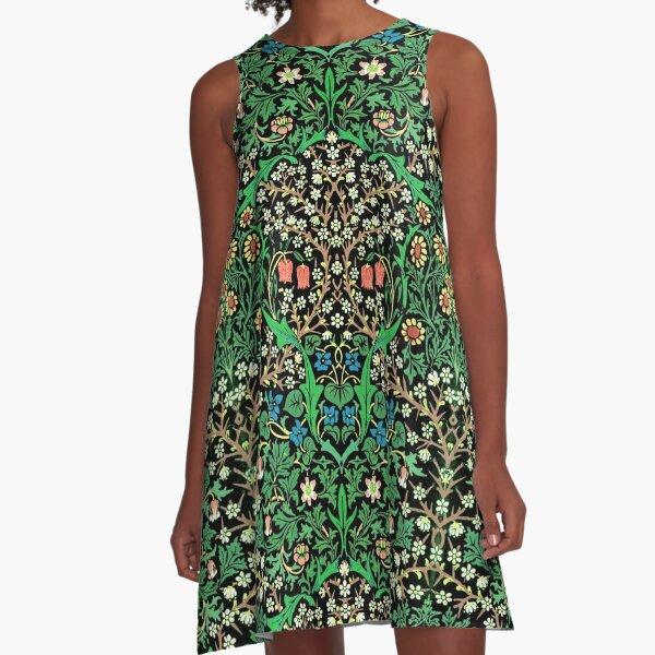 William Morris Jacobean Floral, Black Background A-Line Dress