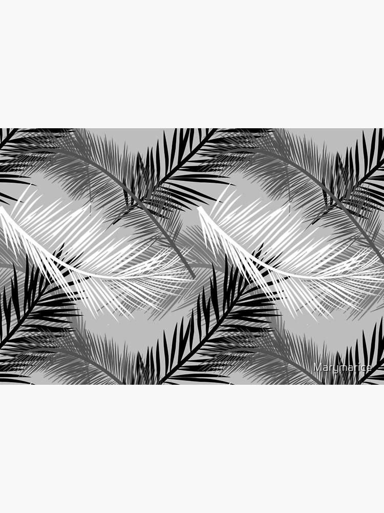 Palm Leaf Print, Gray, Black and White by Marymarice