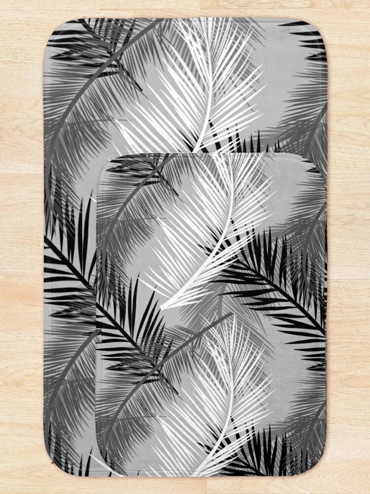 Alternate view of Palm Leaf Print, Gray, Black and White Bath Mat