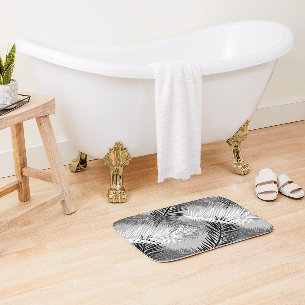 Palm Leaf Print, Gray, Black and White Bath Mat
