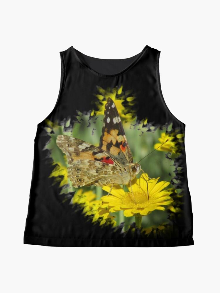 Alternative Ansicht von wundervoller Schmetterling auf einer gelben Blume Ärmelloses Top