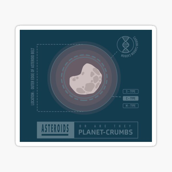 Asteroids are Planet-crumbs - Astronomy Joke Sticker