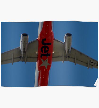 Jetstar A320 Taking Off Overhead Poster
