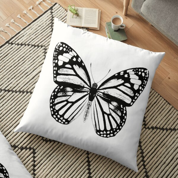 Monarch Butterfly   Vintage Butterflies   Black and White    Floor Pillow