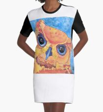 """""""Radiant Bella"""" Great Horned Owl Ink Painting Graphic T-Shirt Dress"""