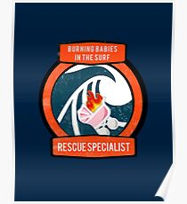 Burning Babies in the Surf Rescue Specialist Poster