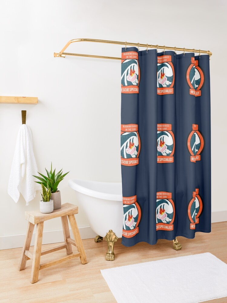 Alternate view of Burning Babies in the Surf Rescue Specialist Shower Curtain
