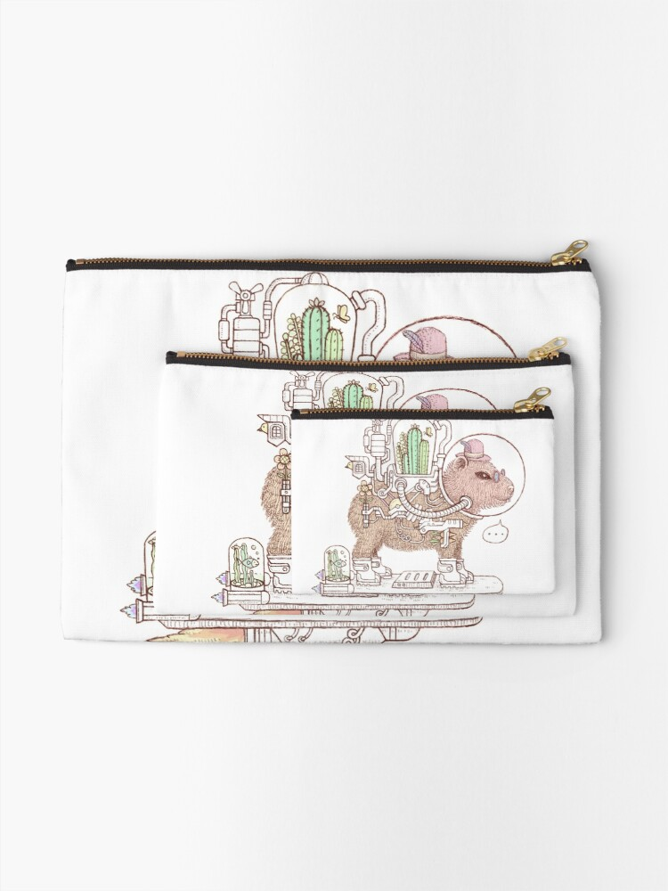 Alternate view of capybara space suits Zipper Pouch
