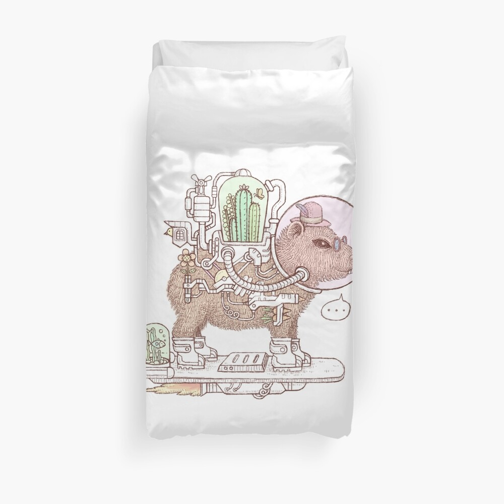 capybara space suits Duvet Cover