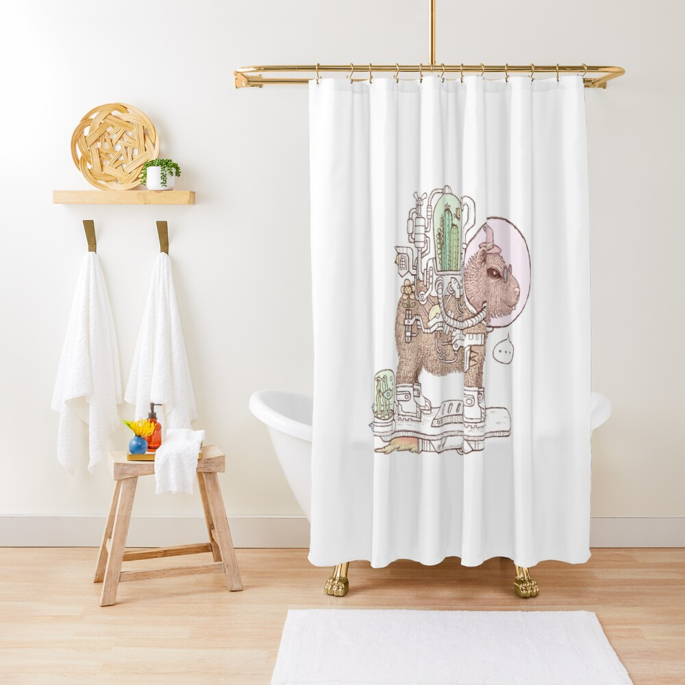 capybara space suits Shower Curtain