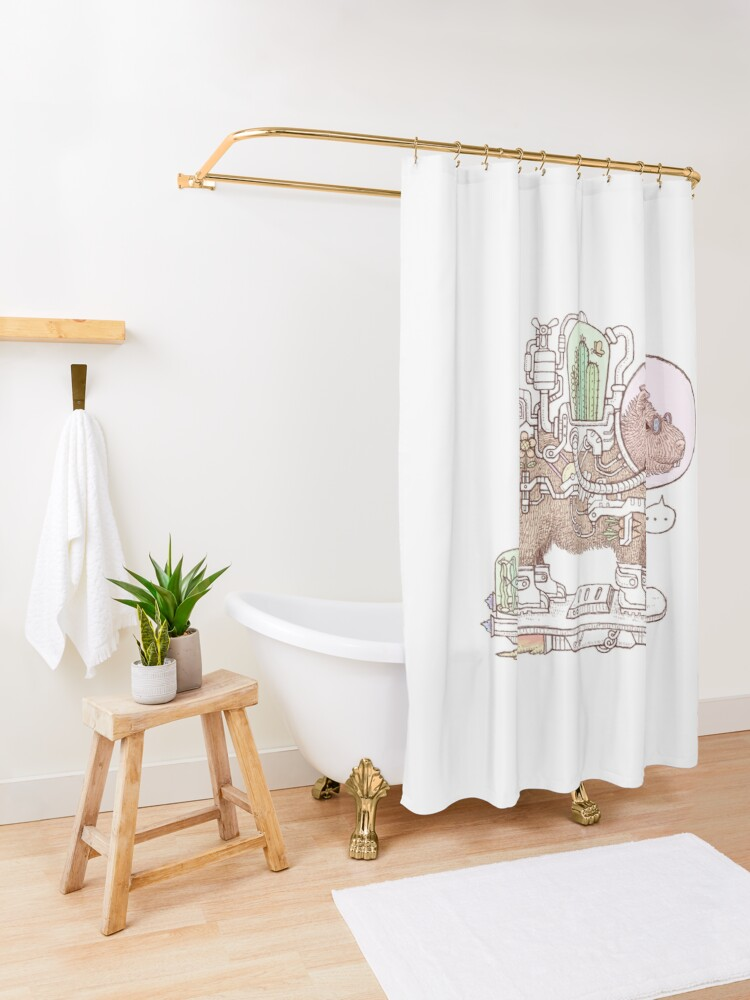 Alternate view of capybara space suits Shower Curtain