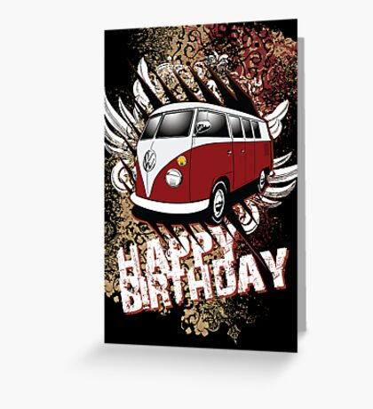 Volkswagen Birthday Card- 11 Window Split Greeting Card