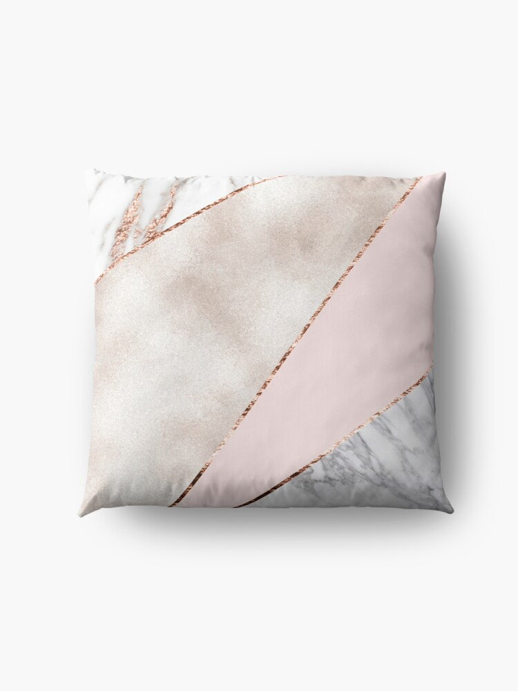 Alternate view of Spliced mixed rose gold marble Floor Pillow