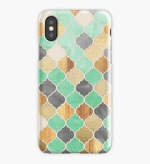 Charcoal, Mint, Wood & Gold Moroccan Pattern iPhone Case/Skin