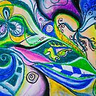 Blue Green Tones Movement Abstract by BBS ART
