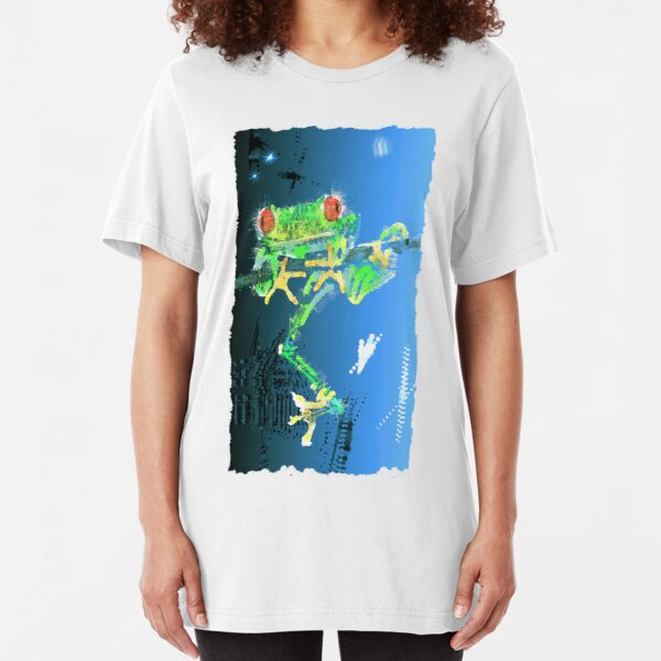 Red Eyed Green Tree People Eating Frog Slim Fit T-Shirt