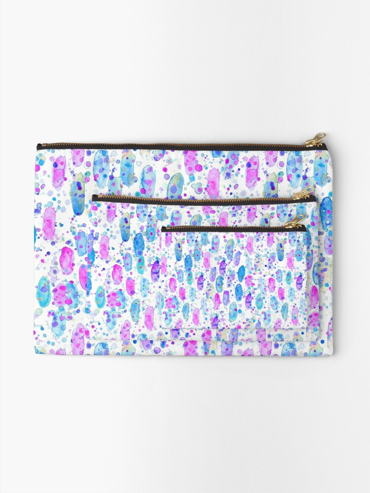 Alternate view of Abstract watercolor pink and blue Zipper Pouch