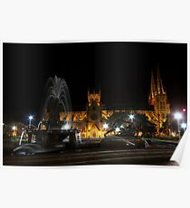 water fountain in front of St Mary's Cathedral, night Poster