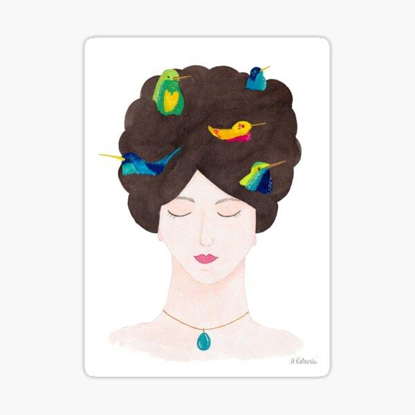 Bird Brain - gouache portrait Sticker