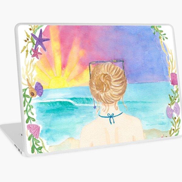 Sunset beach girl Laptop Skin