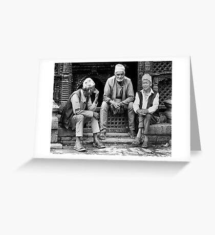Street conversation. Bhaktapur, Nepal Greeting Card