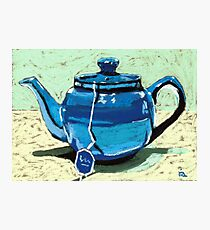 Tea time - blue teapot Photographic Print