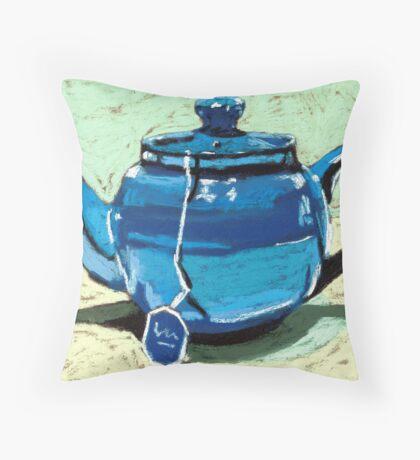 Tea time - blue teapot Throw Pillow