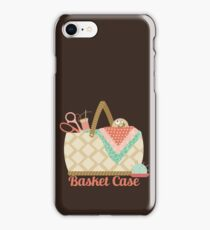 Funny seamstress sewing basket case crazy face iPhone Case/Skin
