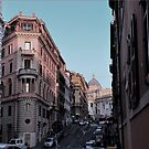 Pastel-toned street scene in Rome at dusk by revealedrome