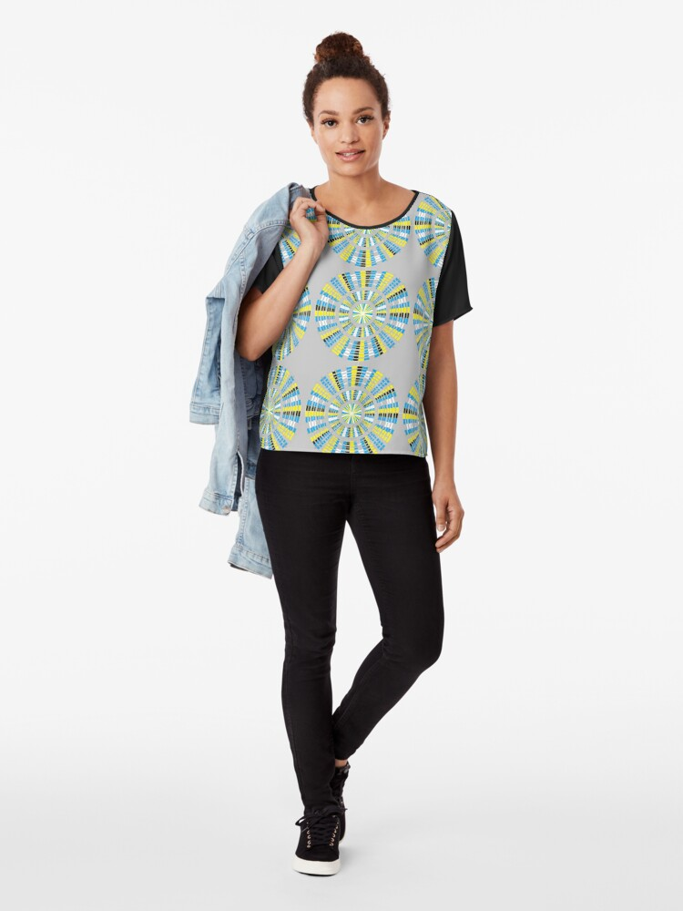 Alternate view of #Pattern, #abstract, #design, #fashion, decoration, repetition, color image,  geometric shape Chiffon Top