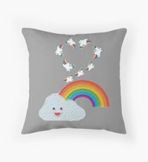 Rainbow unicorn painting  Throw Pillow