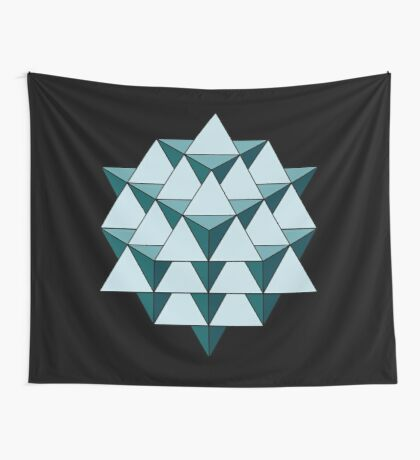 64 Tetrahedron - Cool Blues Wall Tapestry