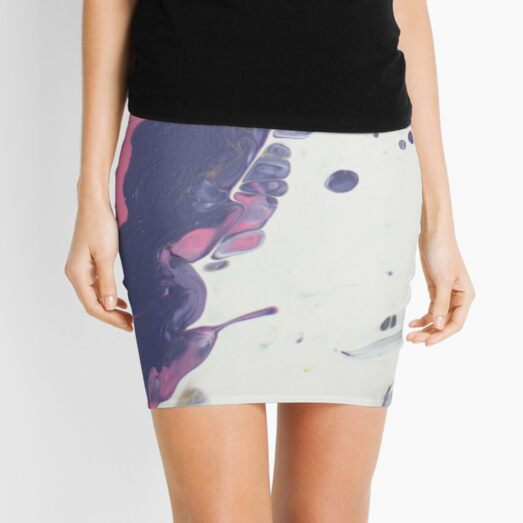 Blowing Away - Abstract Acrylic Painting Mini Skirt