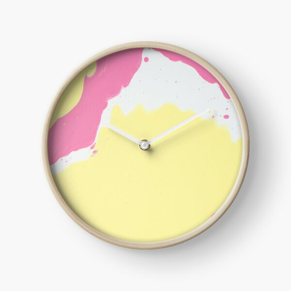 Isle of The Pink And Yellow - Abstract Acrylic Painting Clock