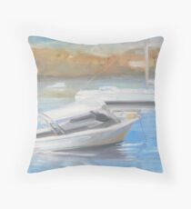 Morning light, boats on Yowie Bay Throw Pillow