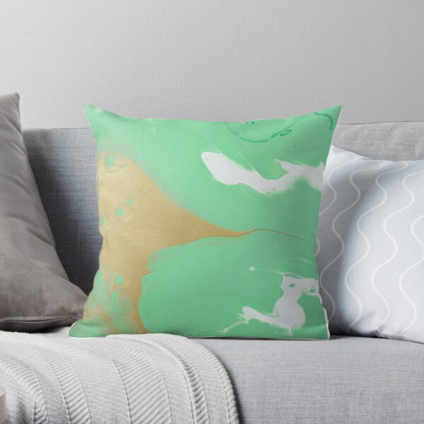 Seafoam - Abstract Acrylic Painting Throw Pillow