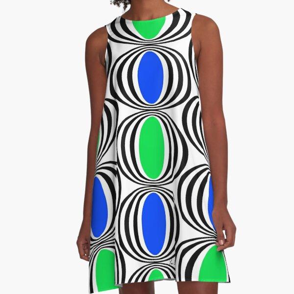 Blue Green Black Circles A-Line Dress