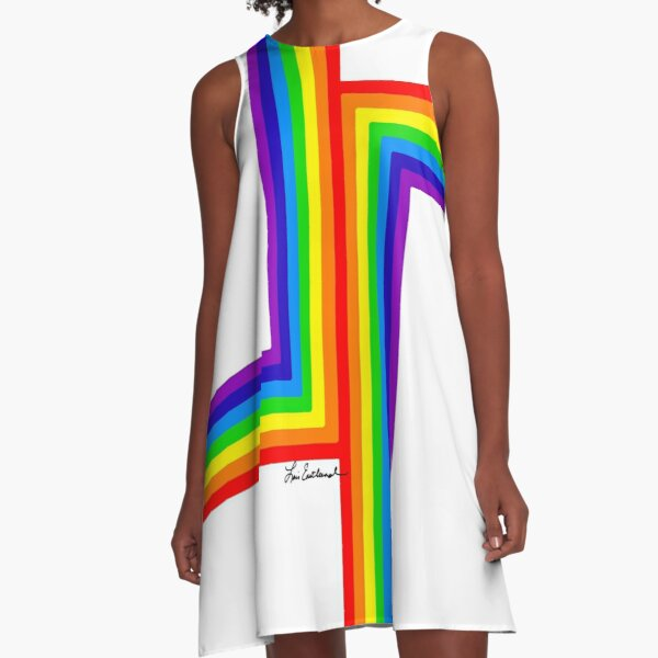 Modern Rainbow on White A-Line Dress