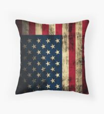 Rustic Patriotic American Flag Throw Pillow