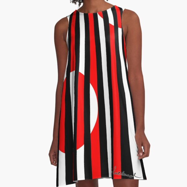 Black White and Red All Over! A-Line Dress