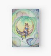 Cobalt Moon Mermaid and Crescent Moon Illustration Hardcover Journal