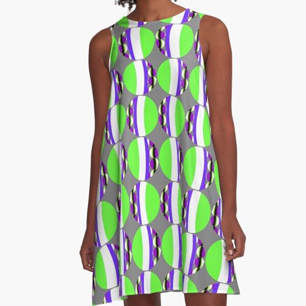 #Pattern, #abstract, #design, #fashion, decoration, repetition, color image,  geometric shape A-Line Dress