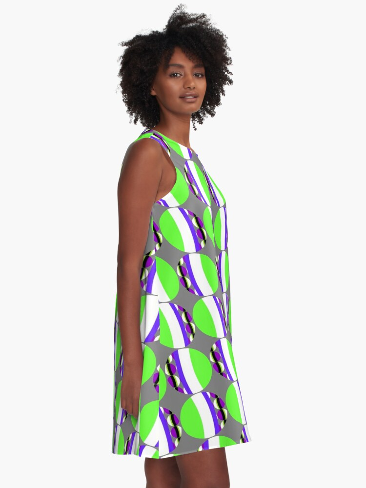 Alternate view of #Pattern, #abstract, #design, #fashion, decoration, repetition, color image,  geometric shape A-Line Dress