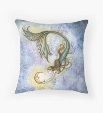 Deep Sea Moon Mermaid Fantasy Art Illustration Throw Pillow