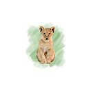 Baby Lion On Green Background by ArtByMichelleT