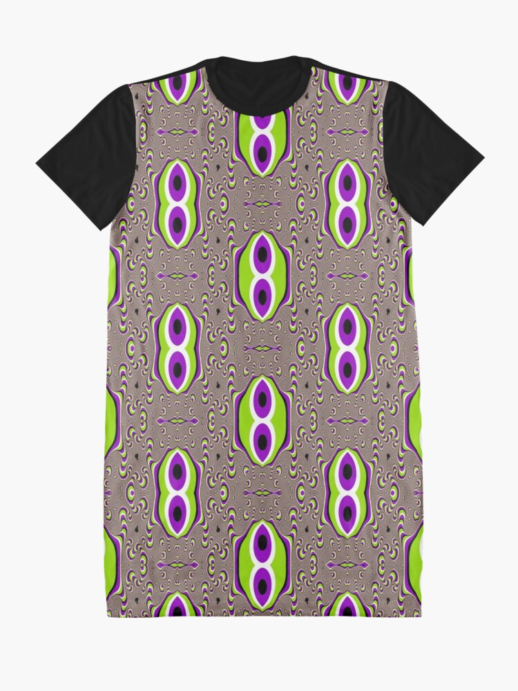 Alternate view of #Scrapbook, #design, #pattern, #repetition, abstract, illustration, square, color image, geometric shape, retro style Graphic T-Shirt Dress