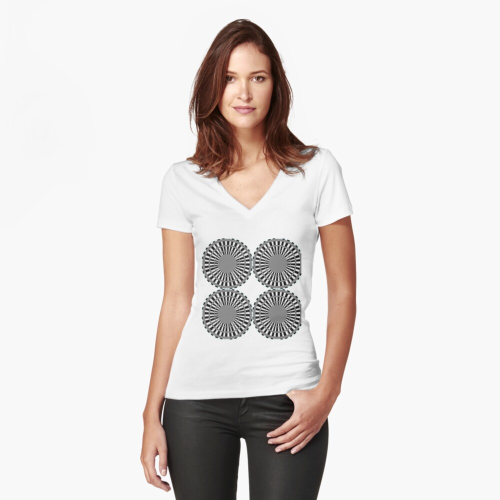 #Scrapbook, #design, #pattern, #repetition, abstract, illustration, square, color image, geometric shape, retro style Fitted V-Neck T-Shirt