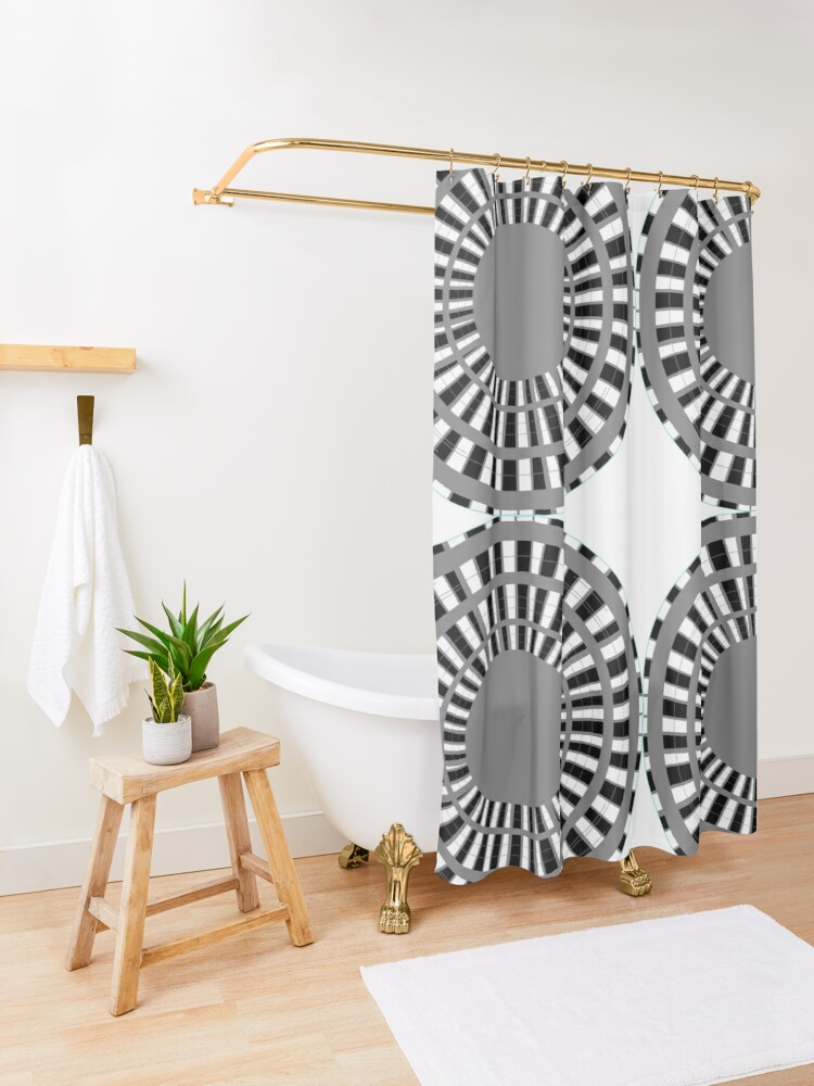 Alternate view of #Scrapbook, #design, #pattern, #repetition, abstract, illustration, square, color image, geometric shape, retro style Shower Curtain